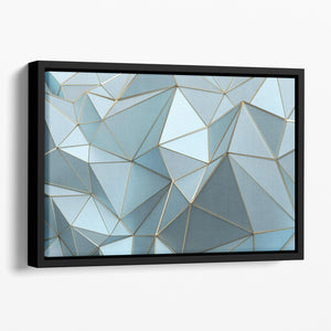 Blue and Gold Triangulated Surface Floating Framed Canvas - Canvas Art Rocks - 1