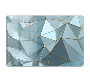 Blue and Gold Triangulated Surface HD Metal Print - Canvas Art Rocks - 1