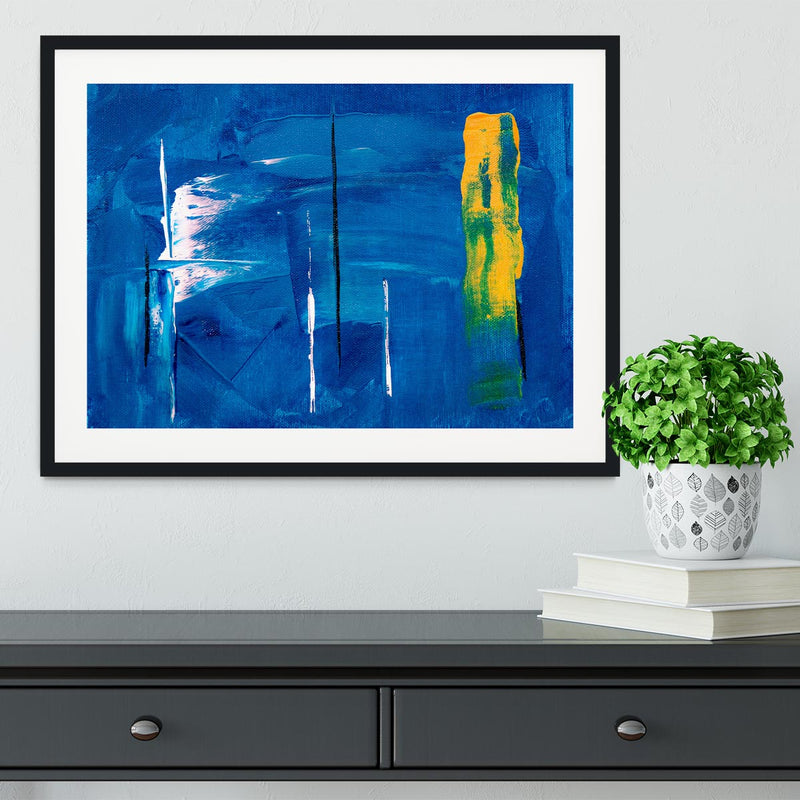 Blue and Green Abstract Painting Framed Print - Canvas Art Rocks - 1