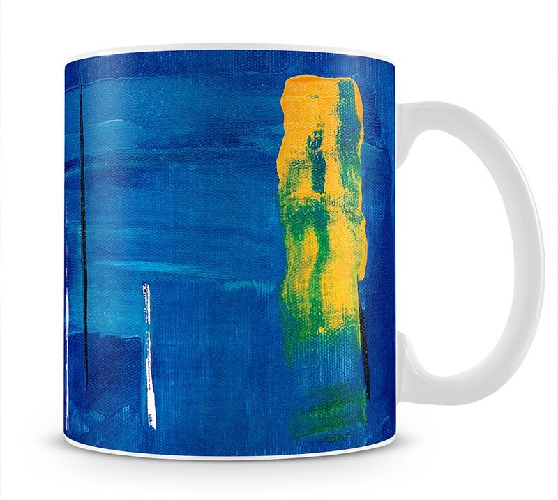 Blue and Green Abstract Painting Mug - Canvas Art Rocks - 1