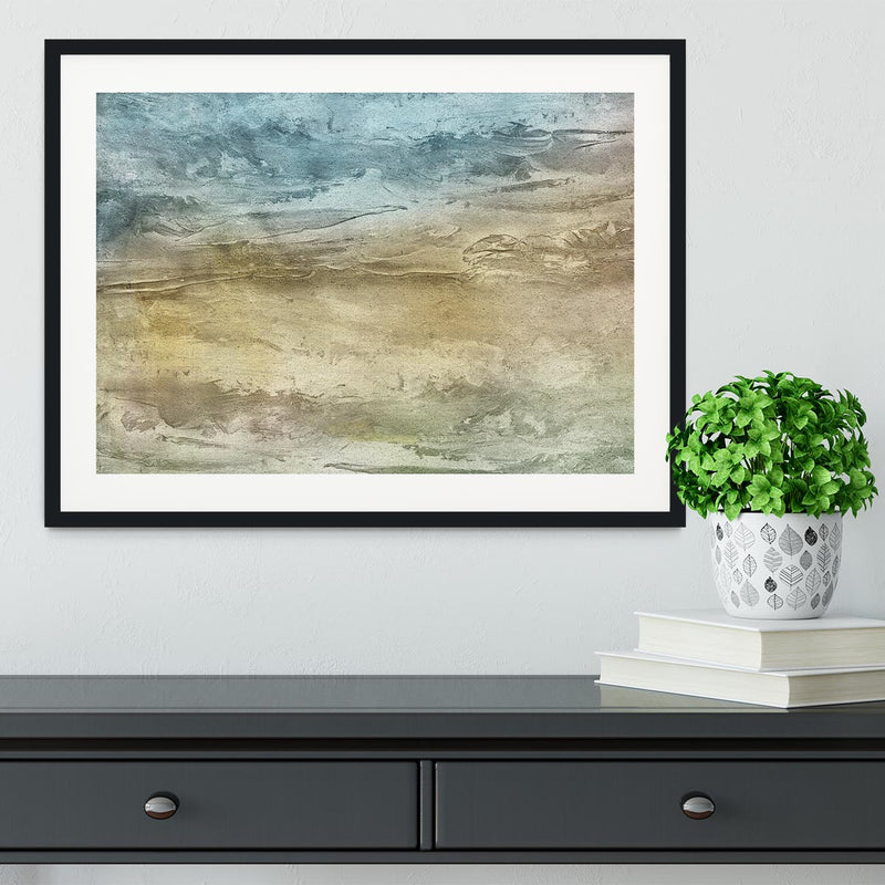 Blue and Grey Painting Framed Print - Canvas Art Rocks - 1