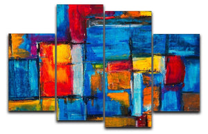 Blue and Red Square Abstract Painting 4 Split Panel Canvas  - Canvas Art Rocks - 1