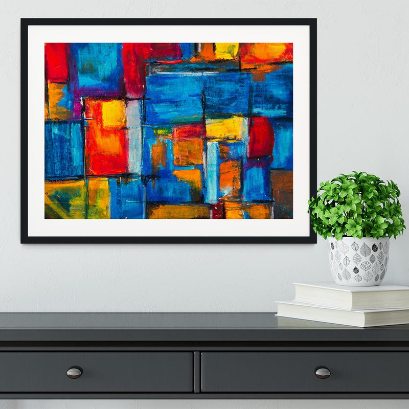 Blue and Red Square Abstract Painting Framed Print - Canvas Art Rocks - 1