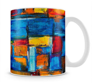 Blue and Red Square Abstract Painting Mug - Canvas Art Rocks - 1