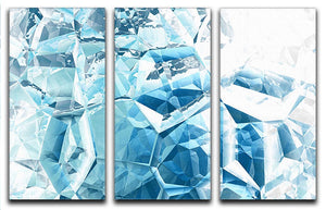 Blue and White Crystal 3 Split Panel Canvas Print - Canvas Art Rocks - 1