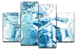 Blue and White Crystal 4 Split Panel Canvas - Canvas Art Rocks - 1