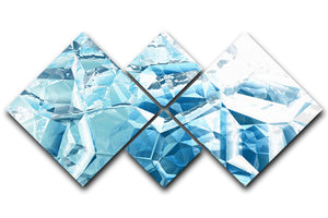 Blue and White Crystal 4 Square Multi Panel Canvas - Canvas Art Rocks - 1
