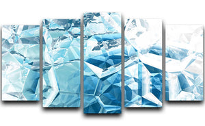Blue and White Crystal 5 Split Panel Canvas - Canvas Art Rocks - 1