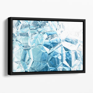Blue and White Crystal Floating Framed Canvas - Canvas Art Rocks - 1