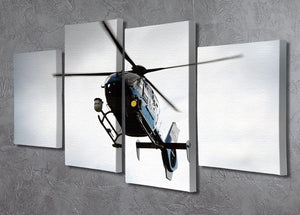 Blue and silver police helicopter flying above 4 Split Panel Canvas  - Canvas Art Rocks - 2