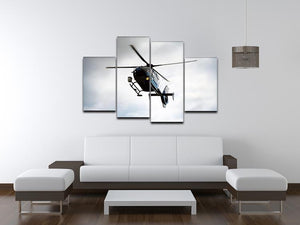 Blue and silver police helicopter flying above 4 Split Panel Canvas  - Canvas Art Rocks - 3