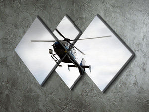 Blue and silver police helicopter flying above 4 Square Multi Panel Canvas  - Canvas Art Rocks - 2