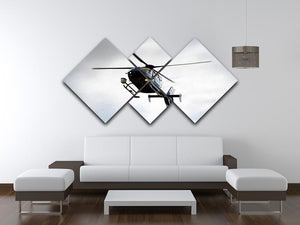 Blue and silver police helicopter flying above 4 Square Multi Panel Canvas  - Canvas Art Rocks - 3