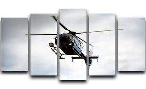 Blue and silver police helicopter flying above 5 Split Panel Canvas  - Canvas Art Rocks - 1