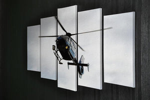 Blue and silver police helicopter flying above 5 Split Panel Canvas  - Canvas Art Rocks - 2