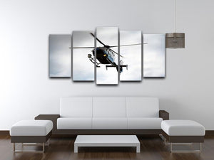 Blue and silver police helicopter flying above 5 Split Panel Canvas  - Canvas Art Rocks - 3