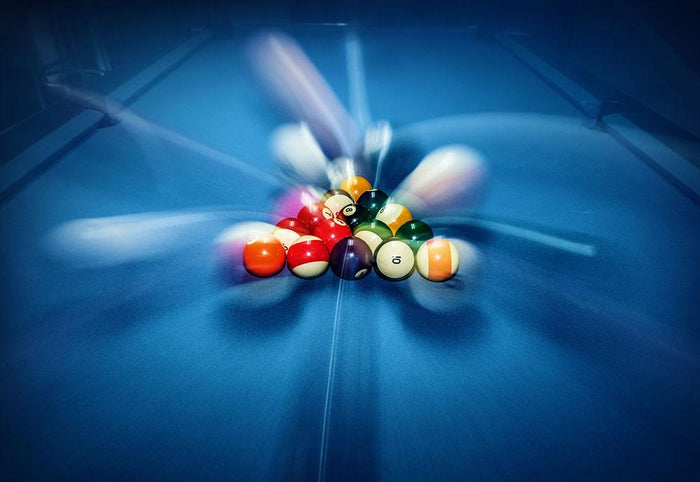 Blue billiard table with colorful balls Wall Mural Wallpaper