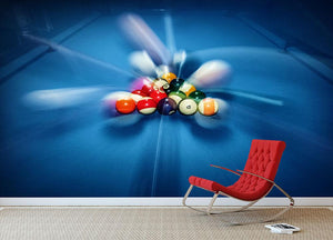 Blue billiard table with colorful balls Wall Mural Wallpaper - Canvas Art Rocks - 2