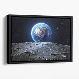 Blue earth seen from the moon surface Floating Framed Canvas