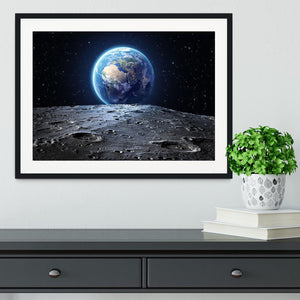 Blue earth seen from the moon surface Framed Print - Canvas Art Rocks - 1