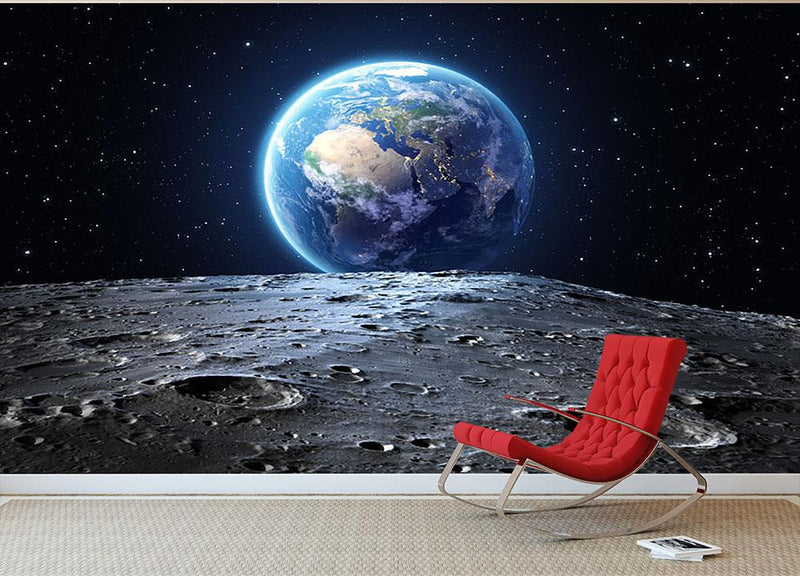 Blue earth seen from the moon surface Wall Mural Wallpaper - Canvas Art Rocks - 2