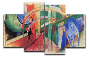 Blue horse with rainbow by Franz Marc 4 Split Panel Canvas  - Canvas Art Rocks - 1