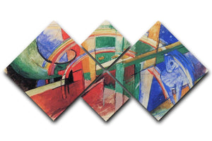 Blue horse with rainbow by Franz Marc 4 Square Multi Panel Canvas  - Canvas Art Rocks - 1