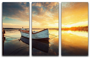 Boat on lake with a reflection 3 Split Panel Canvas Print - Canvas Art Rocks - 1