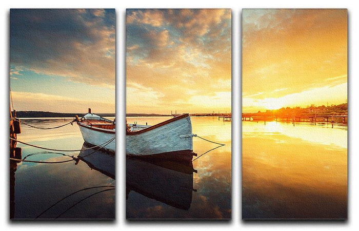 Boat on lake with a reflection 3 Split Panel Canvas Print