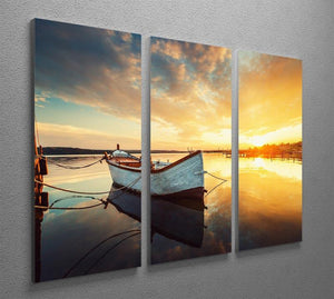 Boat on lake with a reflection 3 Split Panel Canvas Print - Canvas Art Rocks - 2