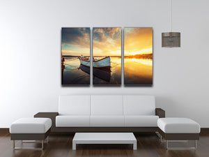 Boat on lake with a reflection 3 Split Panel Canvas Print - Canvas Art Rocks - 3