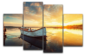 Boat on lake with a reflection 4 Split Panel Canvas  - Canvas Art Rocks - 1