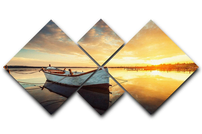 Boat on lake with a reflection 4 Square Multi Panel Canvas