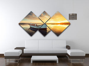 Boat on lake with a reflection 4 Square Multi Panel Canvas  - Canvas Art Rocks - 3