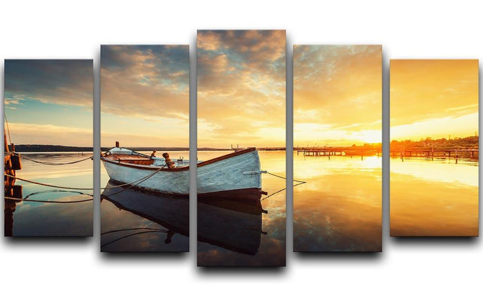 Boat on lake with a reflection 5 Split Panel Canvas