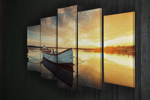 Boat on lake with a reflection 5 Split Panel Canvas  - Canvas Art Rocks - 2