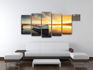 Boat on lake with a reflection 5 Split Panel Canvas  - Canvas Art Rocks - 3