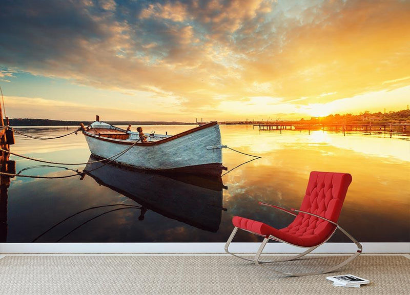 Boat on lake with a reflection Wall Mural Wallpaper - Canvas Art Rocks - 1