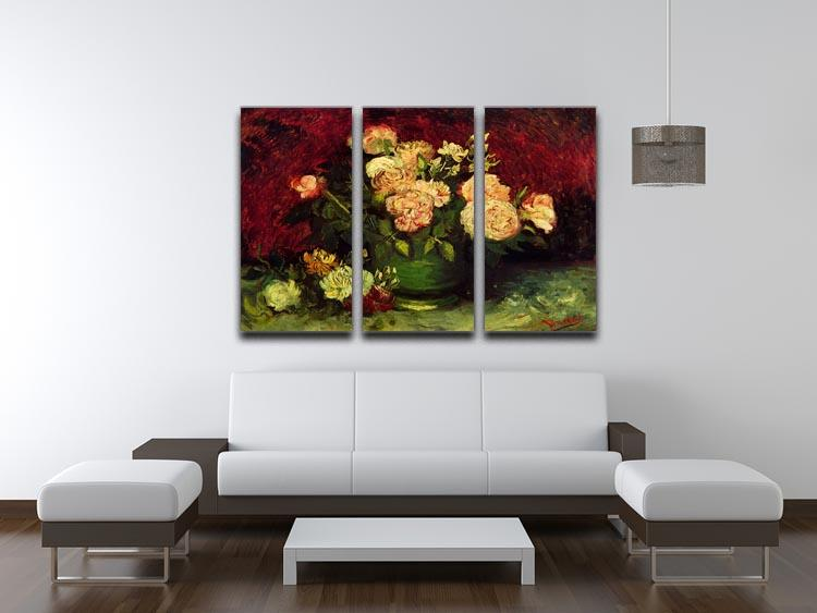 Bowl with Peonies and Roses by Van Gogh 3 Split Panel Canvas Print - Canvas Art Rocks - 4
