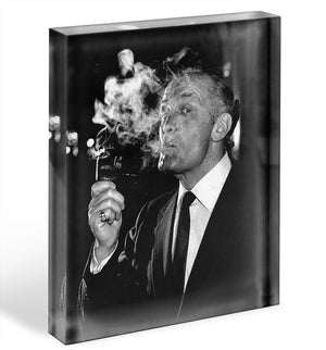 Boxer Henry Cooper smoking a pipe Acrylic Block - Canvas Art Rocks - 1