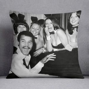 Boxer John Conteh with bunny girls at the playboy club Cushion - Canvas Art Rocks - 1