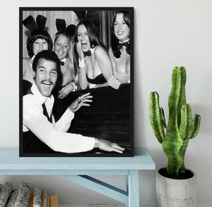 Boxer John Conteh with bunny girls at the playboy club Framed Print - Canvas Art Rocks - 2