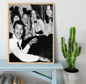 Boxer John Conteh with bunny girls at the playboy club Framed Print - Canvas Art Rocks - 4