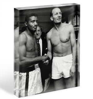 Boxers Floyd Patterson and Henry Cooper Acrylic Block - Canvas Art Rocks - 1