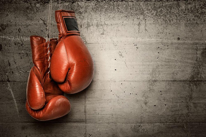 Boxing gloves hanging on concrete Wall Mural Wallpaper
