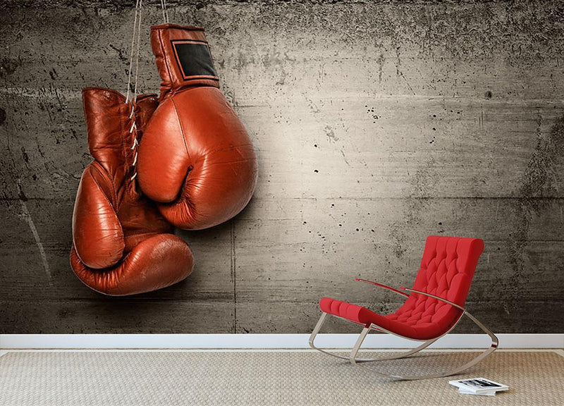 Boxing gloves hanging on concrete Wall Mural Wallpaper - Canvas Art Rocks - 1
