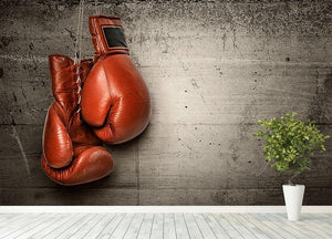 Boxing gloves hanging on concrete Wall Mural Wallpaper - Canvas Art Rocks - 4