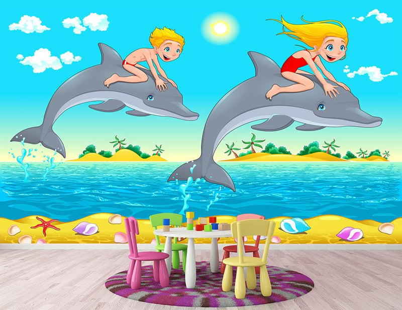 Boy girl and dolphin in the sea Wall Mural Wallpaper - Canvas Art Rocks - 1