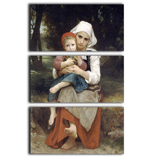 Breton Brother and Sister By Bouguereau 3 Split Panel Canvas Print - Canvas Art Rocks - 1
