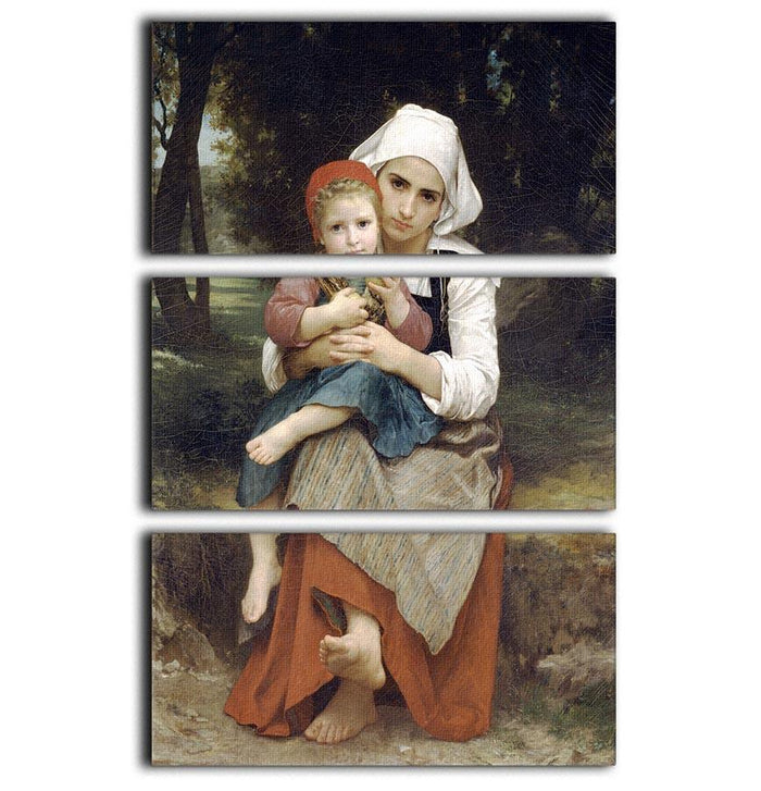 Breton Brother and Sister By Bouguereau 3 Split Panel Canvas Print